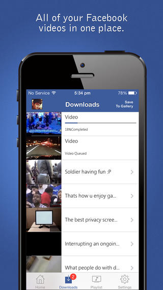 App facebook vídeo